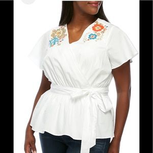Faux wrap embroidered top